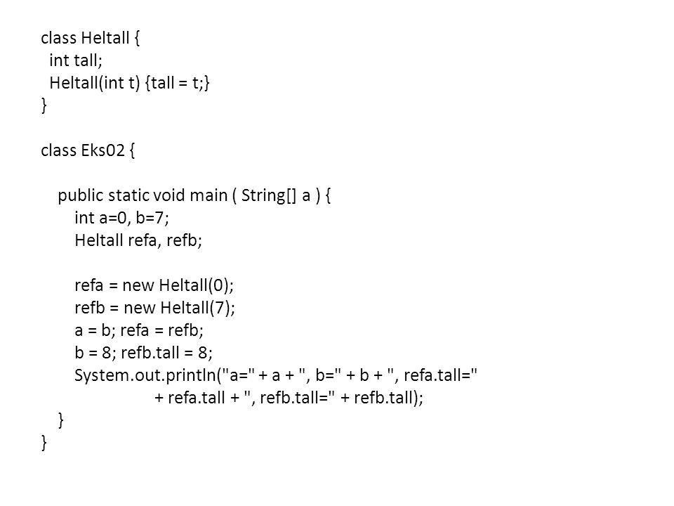 class Heltall { int tall; Heltall(int t) {tall = t;} } class Eks02 { public static void main ( String[] a ) { int a=0, b=7; Heltall refa, refb; refa = new Heltall(0); refb = new Heltall(7); a = b; refa = refb; b = 8; refb.tall = 8; System.out.println( a= + a + , b= + b + , refa.tall= + refa.tall + , refb.tall= + refb.tall);